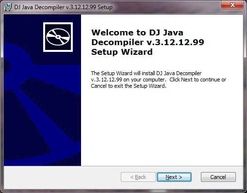 DJ Java Decompiler setup installer Welcome dialog