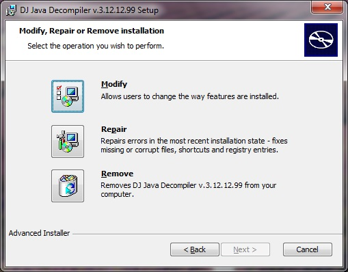 Modify, Repair or Remove installation of DJ Java Decompiler